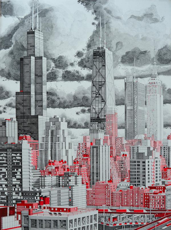 红环针管笔建筑手绘