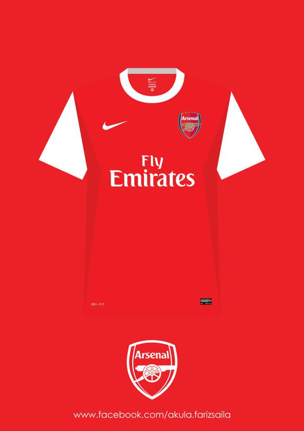 阿森纳 2005-2015球衣设计